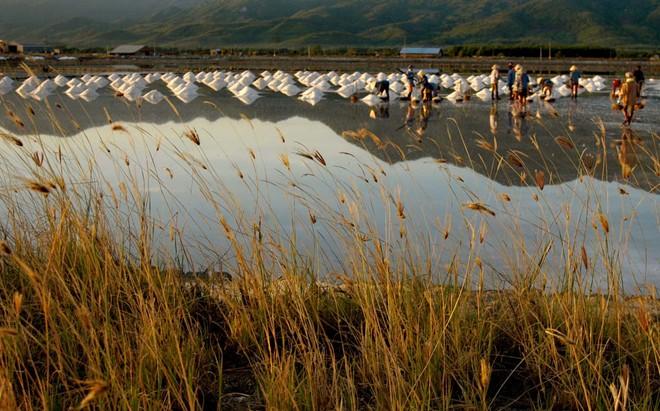 Họ tranh thủ làm việc sớm để tránh nắng, vì đến khoảng 9h thì không thể chịu nổi cái nắng nóng trên đồng muối.
