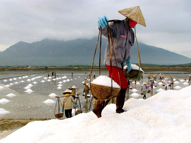 Đống muối càng lúc càng cao, họ phải gánh lên cao hơn để đổ.